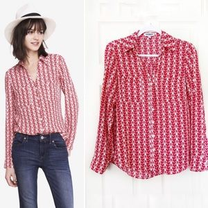Express Portofino Shirt Red Pink Butterfly Print